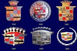 Значки кадиллака разных времен